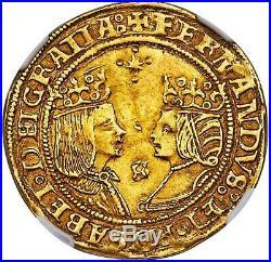 1474-1504 NGC AU55 GOLD COIN Spain 2 Escudo Ferdinand & Isabella 1 Excelente