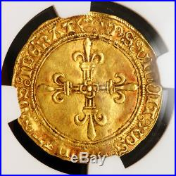 1515, Royal France, Louis XII. Scarce Gold Ecu (for Dauphine!) Coin. NGC AU58