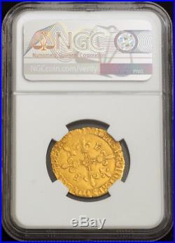 1547, Royal France, Francis I. Gold Ecu (with Sun) Coin. Bayonne! NGC AU-58