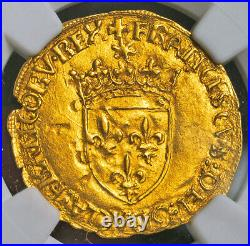 1547, Royal France, Francis I. Gold Ecu (with Sun) Coin. Montpellier! NGC MS-63