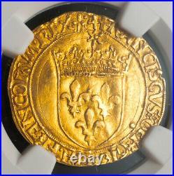 1547, Royal France, Francis I. Nice Gold Ecu (with Sun) Coin. Lyon! NGC AU-55