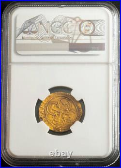 1555, Charles & Joanna of Spain. Scarce Gold Escudo Coin. Seville! NGC MS-62