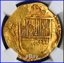 1598, Spain, Philip II. Certified Gold 4 Escudos Cob Coin. Seville. NGC AU-53