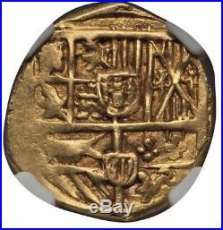 1621-1665 Gold Cob Doubloon SPAIN Dos Escudos Pirate Caribbean Treasure ngc AU58