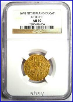 1648 Netherlands Utrecht Gold Provincial Ducat Coin 1D Certified NGC AU50