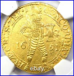 1651 Netherlands Zeeland Gold Provincial 2 Ducat Coin (2D) Certified NGC AU55