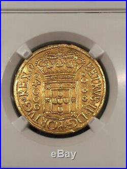 1699 Brazil Gold 4000 Reis Jose I NGC Extremely Rare Shipwreck Treasure 8.16 Gr