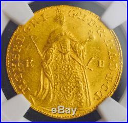 1756, Kingdom of Hungary, Maria Theresa. Gold Ducat Coin. Kremnitz! NGC MS-64