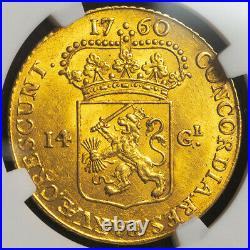 1760, Netherlands, Gelderland. Gold 14 Gulden Golden Rider Coin. NGC MS-61