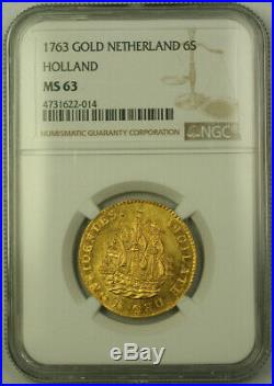 1763 Netherlands Holland 6 Stuivers Gold Coin NGC MS-63 Choice UNC