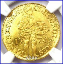 1778 Netherlands Utrecht Gold Ducat Coin (1D) Certified NGC AU Details Rare