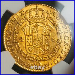 1781/79, Spain, Charles III. Large Gold 4 Escudos Coin. Overdate! NGC AU-55