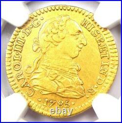 1785-MO Mexico Gold Charles III Escudo Certified NGC AU50 Rare Gold Coin