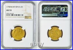 1798, Spain, Charles IV. Spanish Gold 2 Escudos Coin. (6.77gm) NGC AU-53