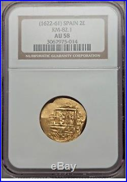 17th Century Spanish Gold Cob Dos Escudos NGC AU58 pirate treasure doubloon