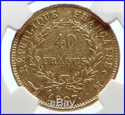 1807 FRANCE Napoleon Bonaparte BIG 40 Francs Antique French Gold Coin NGC i70552