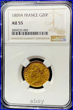 1809 A Napoleon 20 Franc Gold Sovereign-Full Wreath NGC Graded AU 55-Scarce