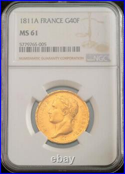 1811, France (1st Empire), Napoleon I. Gold 40 Francs Coin. (12.89gm!) NGC MS61