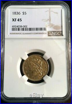 1836 $5 GOLD coin. Classic Head Half Eagle, no motto. NGC XF 45. Only 553K made