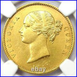 1841-C India Victoria Gold Mohur Lion Coin NGC Uncirculated Details (UNC MS)