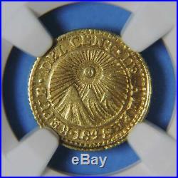 1848 CR JB Central American Republic 1/2 Escudo Gold Coin NGC Graded AU58