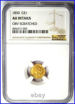 1850 Liberty Gold Dollar Coin G$1 Certified NGC AU Details Rare Date