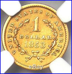1853 Liberty Gold Dollar Coin G$1 Certified NGC XF Detail Rare Coin
