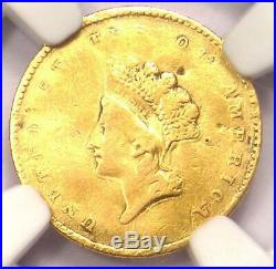 1854 Type 2 Indian Gold Dollar (G$1 Coin) Certified NGC VF Details Rare