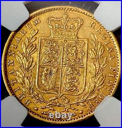 1863 NGC AU53 Victoria Shield Back Gold Sovereign. Very Rare No Dye number