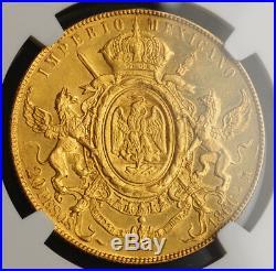 1866, Mexico (Empire), Maximilian I. Gold 20 Pesos Coin. 8,274 Struck! NGC UNC+