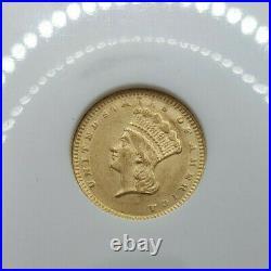 1874 G$1 Gold Dollar, Type 3 Indian Princess, Large Head Coin NGC MS62