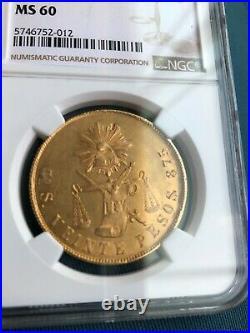 1874 MEXICO 20 gold peso coin, Guanajuato mint, MS 60 uncirculated