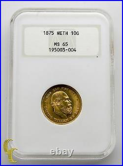 1875 Netherlands Gold 10 Gulden Coin Graded by NGC as MS-65