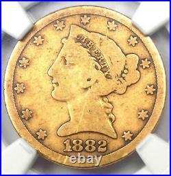 1882-CC Liberty Gold Half Eagle $5 Coin NGC AG Details Rare Carson City