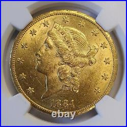 1884-CC Carson City $20 Liberty Head Double Eagle Type 2 Gold Coin NGC MS60