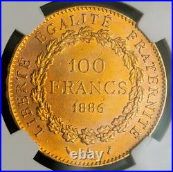 1886, France (3rd Republic). Large Gold 100 Francs Coin. (33.26gm!) NGC MS-62