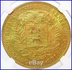 1887 Gold Venezuela 100 Bolivares Simon Bolivar Coin Ngc About Uncirculated 58