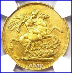1887 Great Britain England Victoria 2 Gold Sovereign Coin 2S NGC MS60 (UNC)