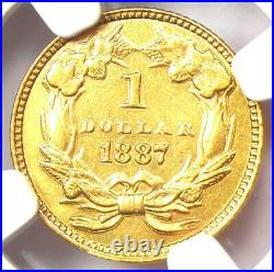 1887 Indian Gold Dollar (G$1 Coin) Certified NGC AU Detail Rare Coin