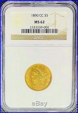 1890-CC American Gold Half Eagle $5 Liberty Head MS62 NGC MINT Carson City Coin