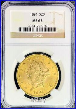 1894 $20 Gold American Double Eagle Liberty Head MS62 NGC Lustrous MINT Coin