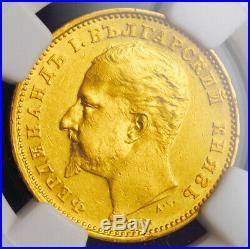 1894, Principality of Bulgaria, Ferdinand I. Rare Gold 20 Leva Coin. NGC AU+