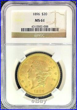 1896 $20 Gold American Double Eagle Liberty Head MS61 NGC Lustrous MINT Coin