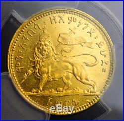 1897(EE 1889), Ethiopia, Emperor Menelik II. Scarce Gold 1 Werk Coin. NGC MS-63