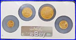 1897 US Liberty Head Quarter, Half, Full, Double Eagle NGC MS62 Gold Coin Set