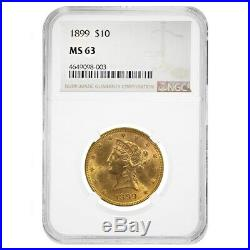 1899 $10 Liberty Head Gold Eagle Coin NGC MS 63