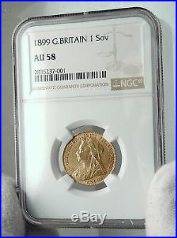 1899 GREAT BRITAIN UK Queen Victoria Gold Sovereign Coin St George NGC i79704