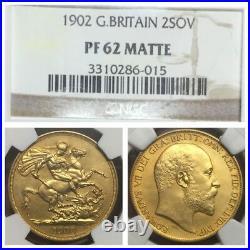 1902 2 Sovereign Ngc Pf62 Matte King Edward VII Gold 2 Pound Sovereign Coin