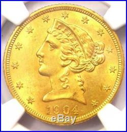 1904 Liberty Gold Half Eagle $5 Coin Certified NGC MS61 (UNC BU) Rare Coin