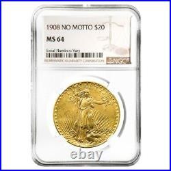 1908 $20 Gold Saint Gaudens Double Eagle Coin No Motto NGC MS 64